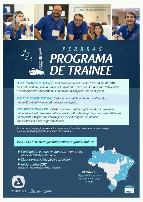 PERBRAS inscreve para Programa de Trainees até 01º/05