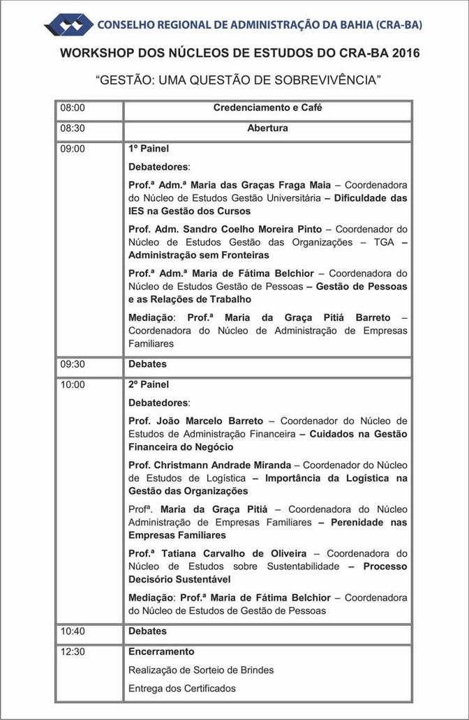 """Workshop """"GESTÃO: uma questão de sobrevivência"""" no CRA-BA"""