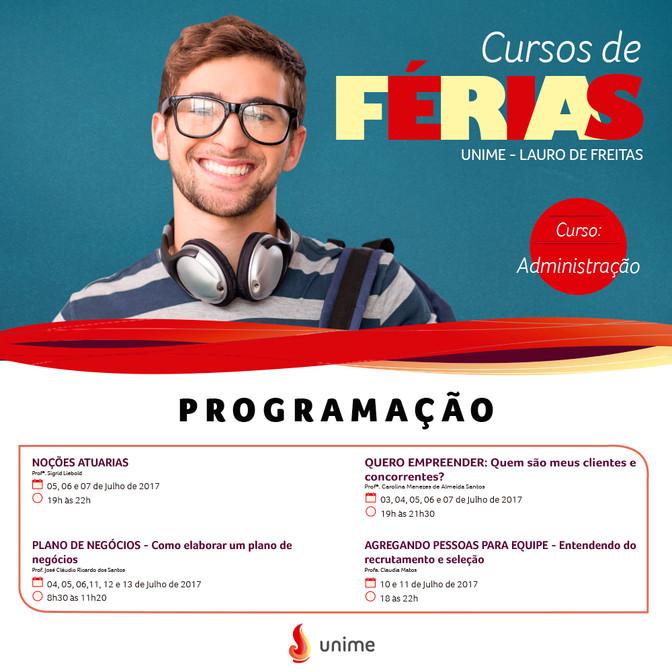 Cursos de férias gratuitos na Unime- Lauro de Freitas