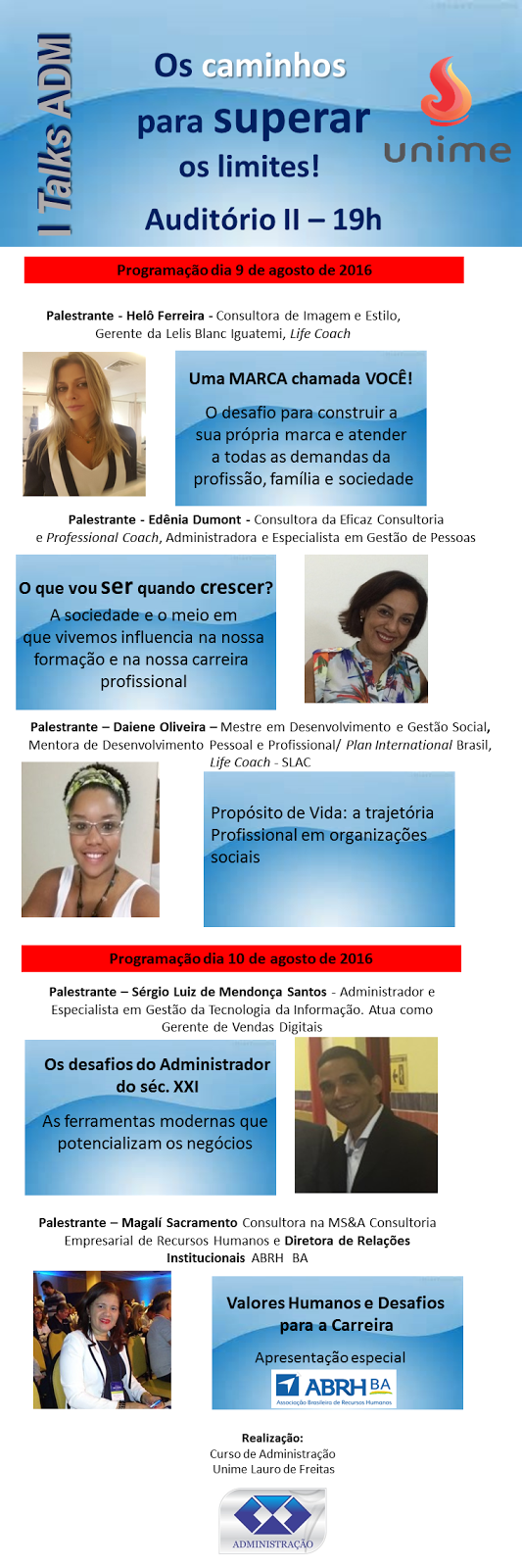 I Talks ADM - Palestras Gratuitas na UNIME - Lauro de Freitas
