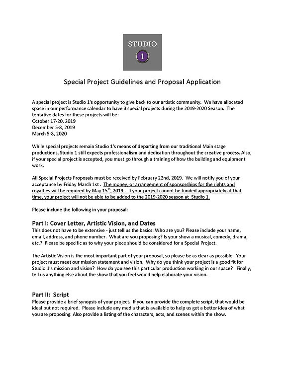 Special Project Guidelines and Proposal