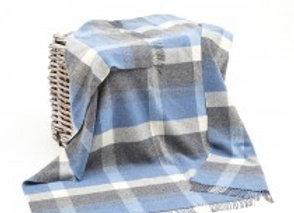 Plaid Merinos Cashmere Bleu/gris