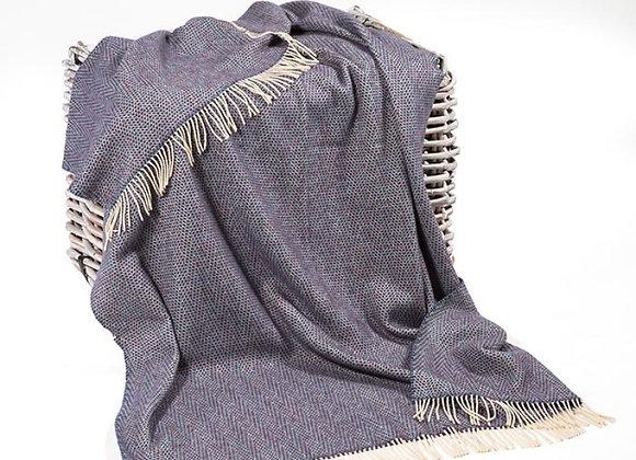 Plaid Merinos Cashmere Bleu foncé/gris