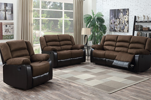 Walter 3-PC Chocolate Fabric Reclining Set