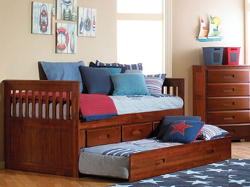 2835 Twin Captain Bed w/Trundle + 3 Drawers