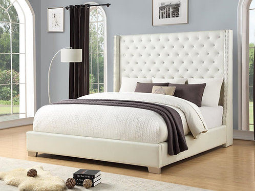 Emily Pearl White Diamond Tufted Bed