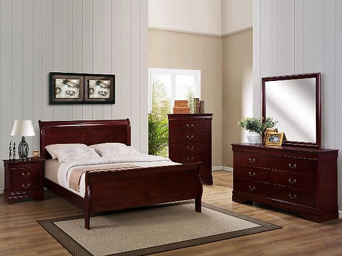 Louis Phillip Cherry Brown Sleigh Bedroom Suite