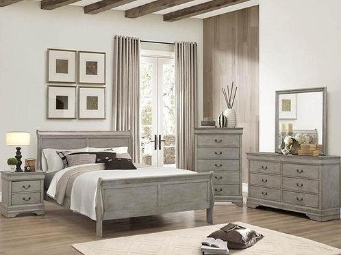 Louis Phillip Olive Grey Sleigh Bedroom Suite