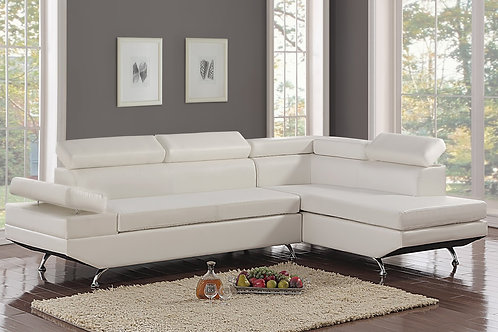 Moderno Leather Sectional w/ Adjustable Head-Rest