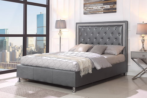 Easton Grey Diamond PU Platform Bed