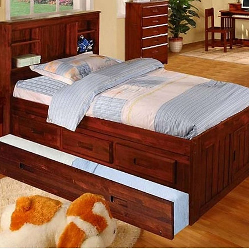 2820 Twin Bookcase Headboard Captain Bed w/Trundle + 3 Drawers