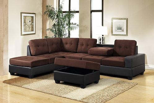 PU Heights Sectional w/ Storage Ottoman and Cupholder