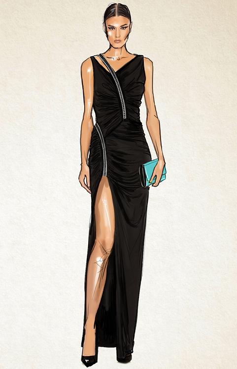 Langes elegantes Jerseykleid