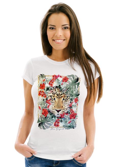 T-Shirt Kurzarm mit Tropical Tiger Print
