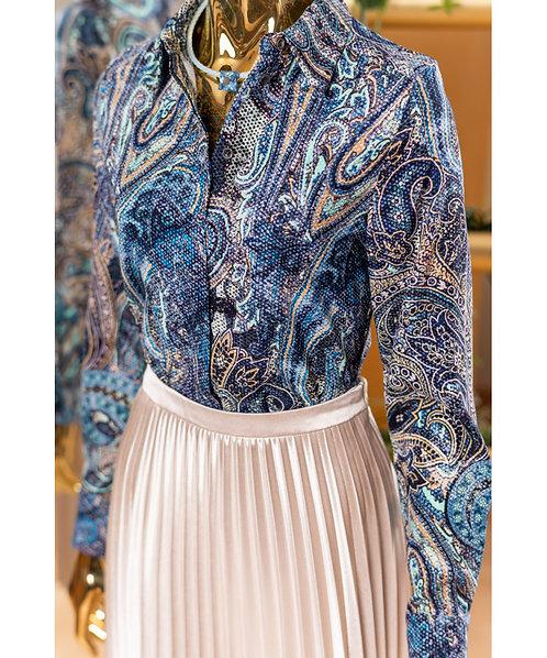 Long Sleeve Silk Blouse Blue