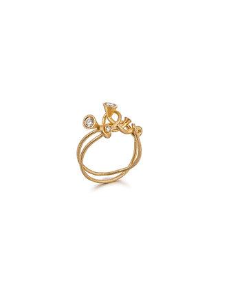 Scale Array gold diamond ring