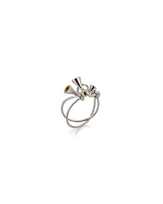 Scale Array silver and gold ring