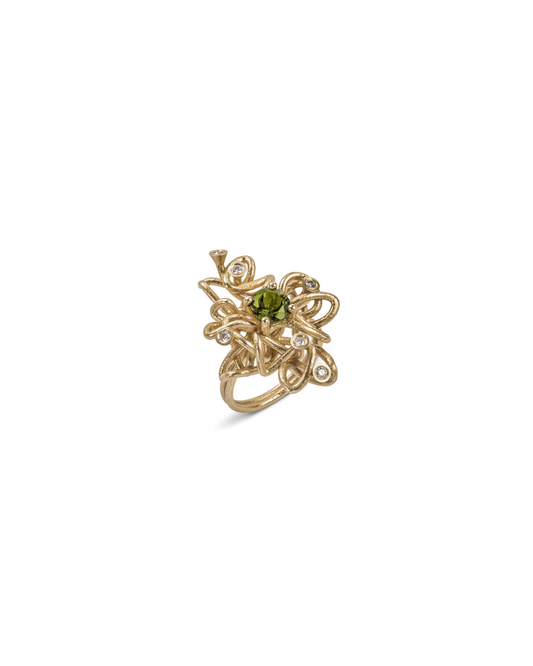 Gem and diamond knot ring
