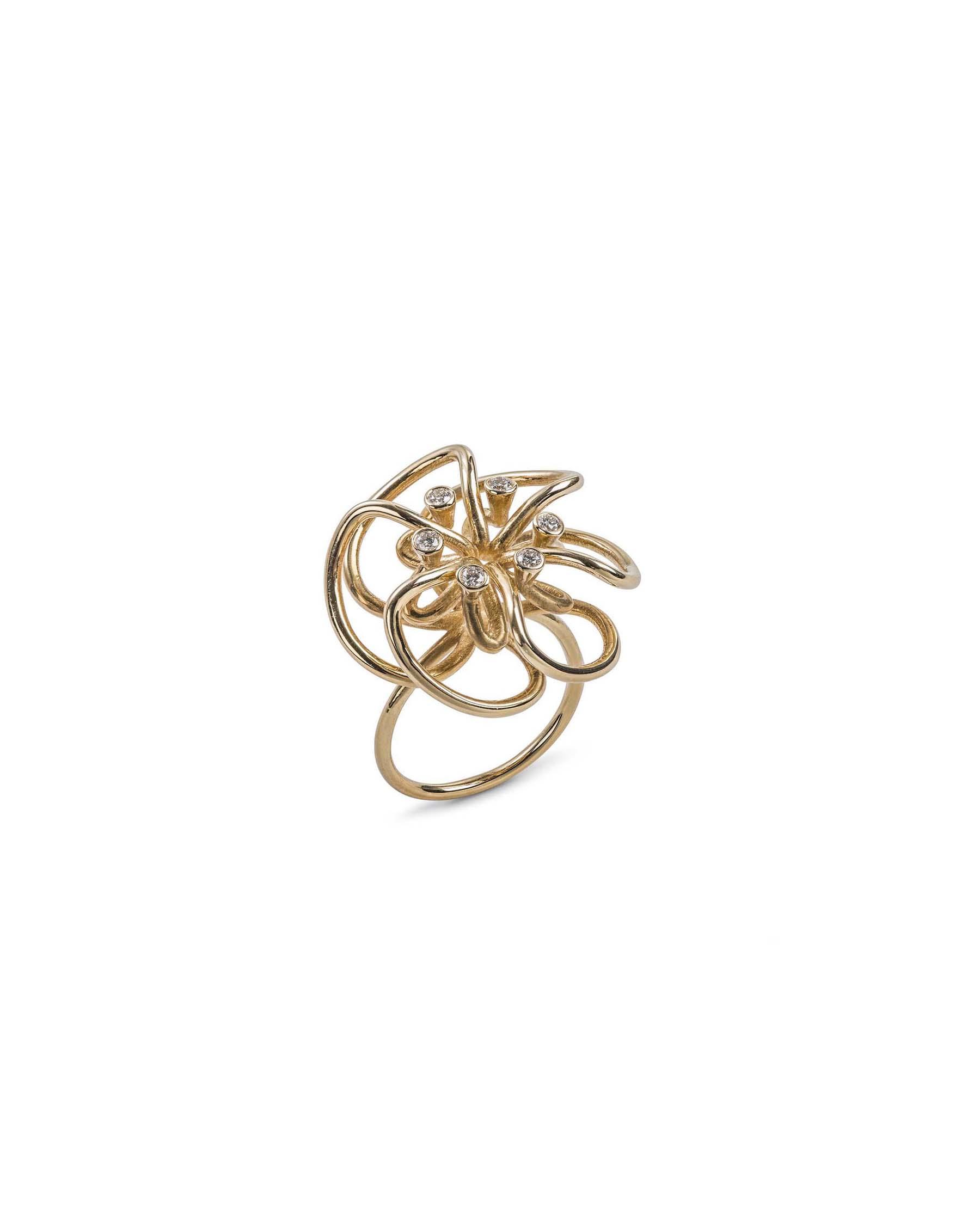 Gold flower knot ring