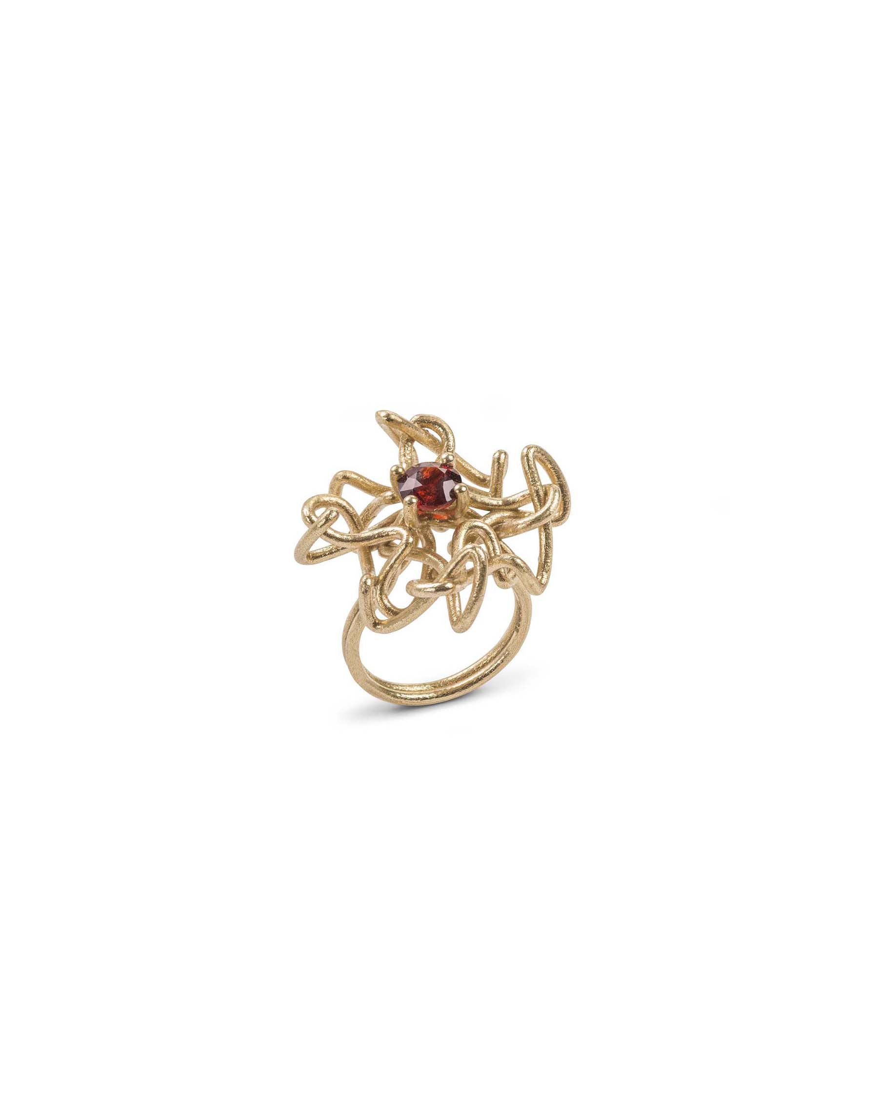 Gold knot gem ring