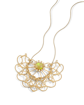Gold, diamond and Opal knot necklace