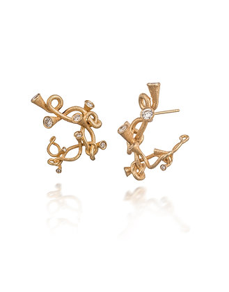 Scale Array gold and diamond earrings
