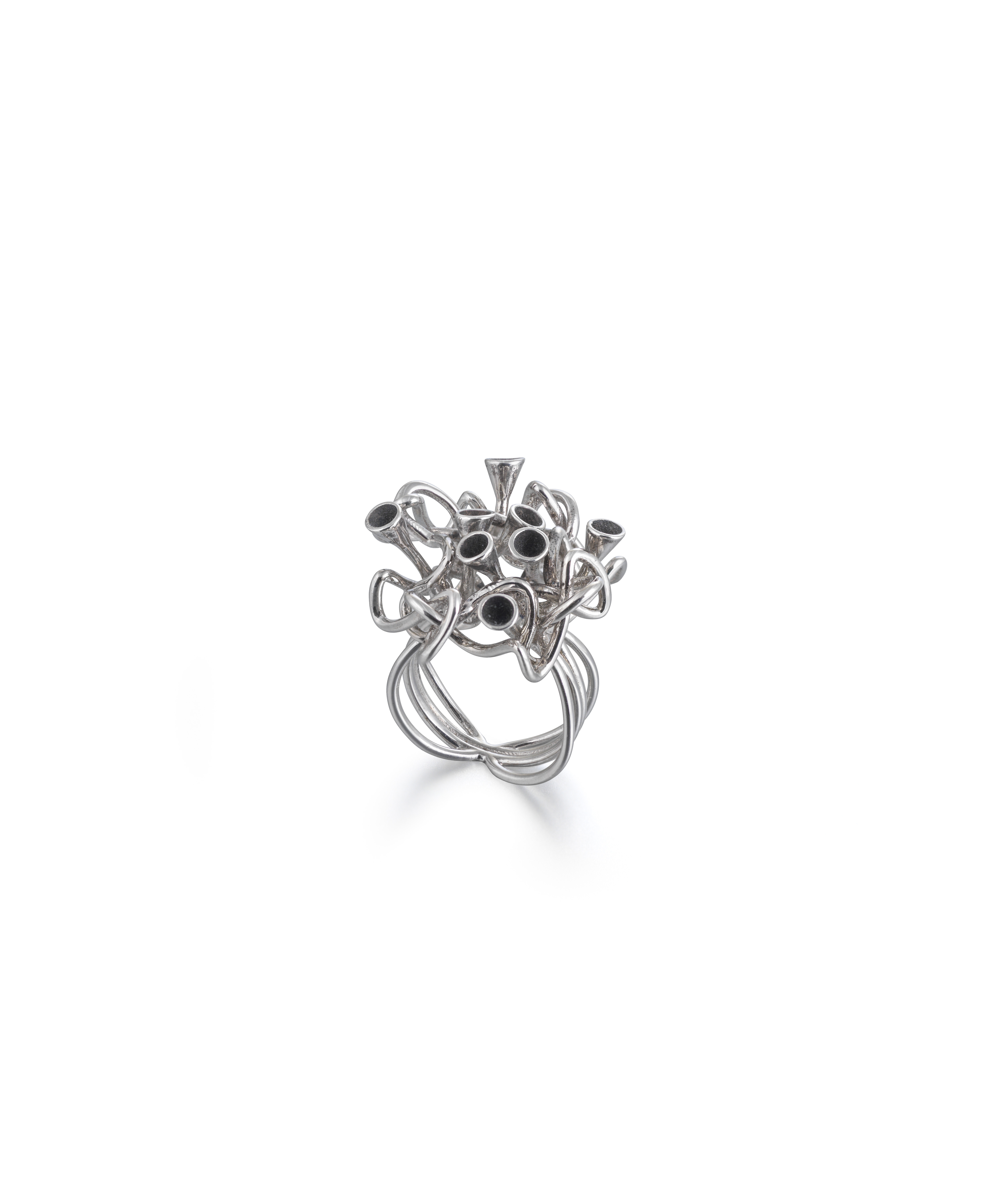 Silver oxidized knot ring
