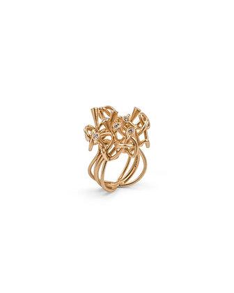 Gold diamond knot ring