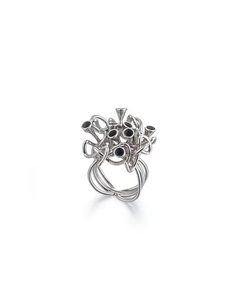 Silver oxidised knot ring