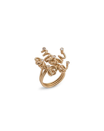 Gold ringlet and diamond ring