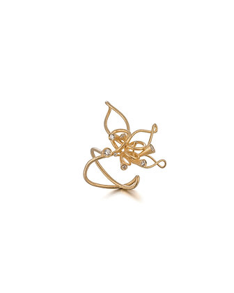 Large gold Scale Array silver ring