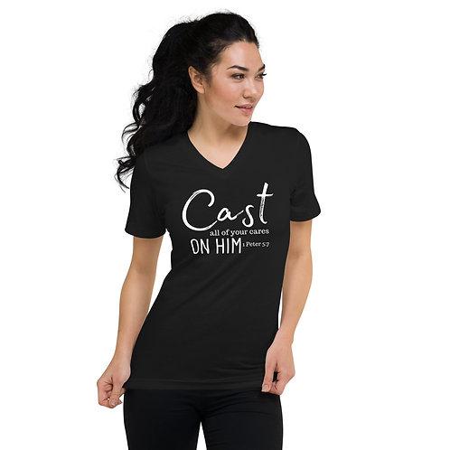 Cast All Your Cares Unisex Short Sleeve V-Neck T-Shirt