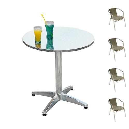 Tavolo Rotondo Per Esterno.Set Da Esterno In Alluminio Con Tavolo Rotondo E 4 Sedie