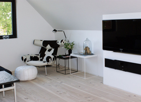 TV og anlæg er bygget ind i skråvæggen og alle installationer er gemt. Ligeledes er reoler med glaslåger bygget ind i skunken for at udnytte pladsen til opbevaring optimalt.