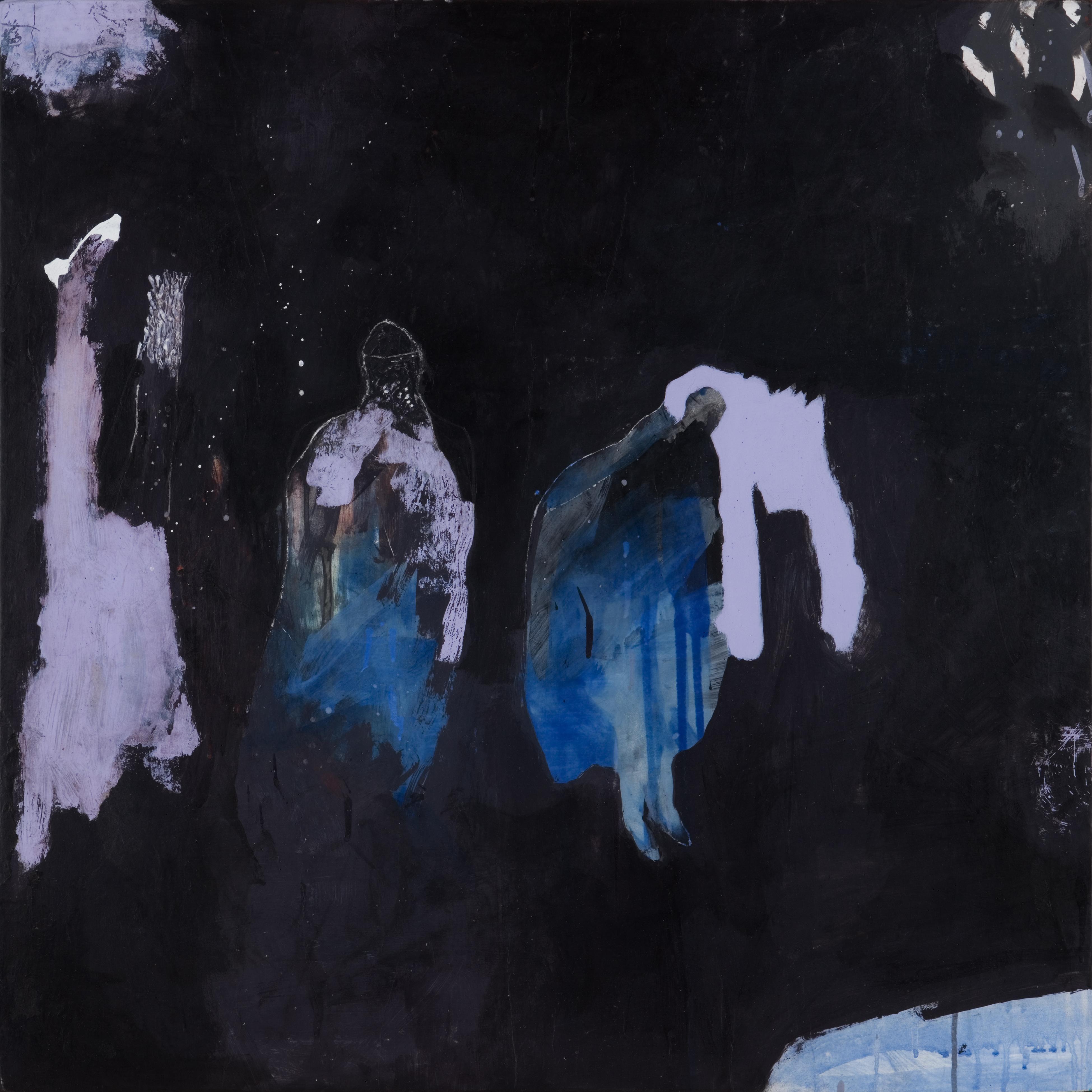 original 60 60 bois - fond noir personnages bleus blancs
