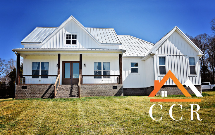 CCR Standing Seam Galvalume Metal Roof with Ice Breakers on a New White Modern Farmhouse in the Piedmont Triad, NC