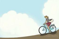 スイカ  自転車  麦わら帽子