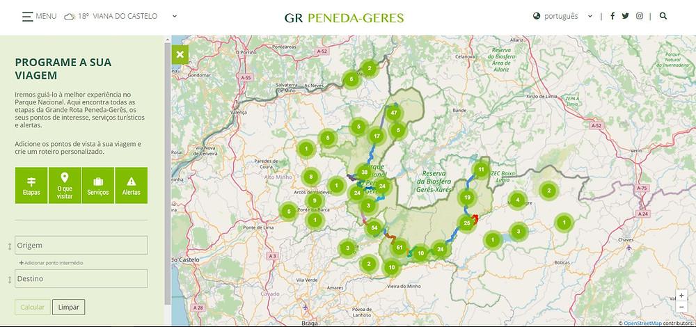Visualizador do mapa interativo da GR50 Peneda-Gerês.