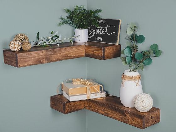 Rustic Floating Corner Shelf