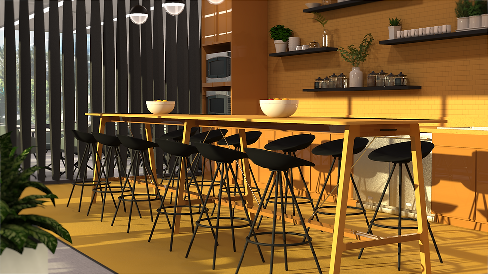 business microsite - eating area- render