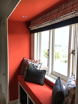 Cosy Window Seat With Made To Measure Roman Blind Handmade Scatter Cushions