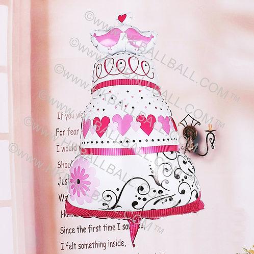 粉色情人鳥蛋糕
