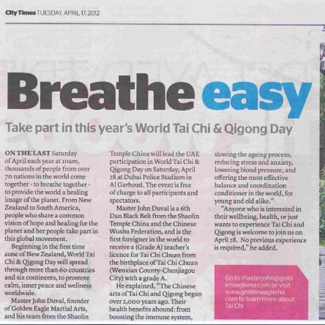 City Times newspaper article about World Tai Chi and Qigong day on Dubai. Hosted by Golden Eagle Mar