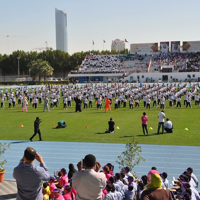 event at the Dubai Police with 500 students performing for the grand opening ceremony of