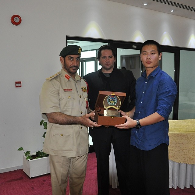 Dubai Police Award this morning presented to Golden Eagle Martial Arts Master John Duval and Mastet