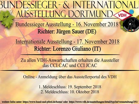 Bundessieger & Internationale Ausstellung Dortmund 16. & 17.11.18