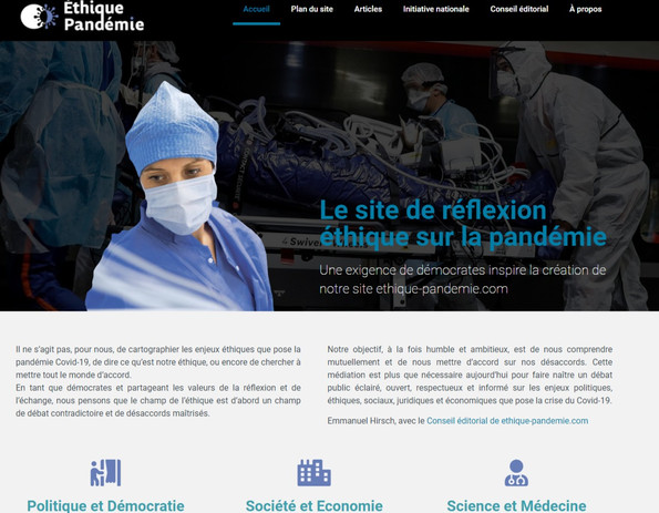 le site Ethique et pandémie
