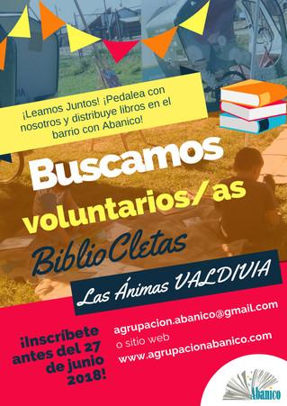 Agrupación Abanico realiza nueva convocatoria a voluntarios/as con proyecto BiblioCletas