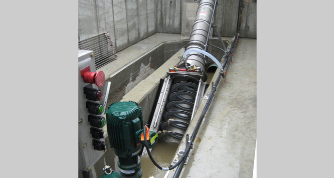 JWC Auger Monster screening system at headworks of WWTP