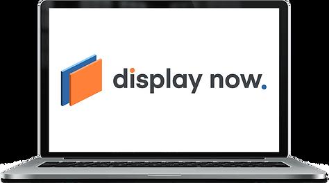 """Display Now"" logo in laptop mockup"